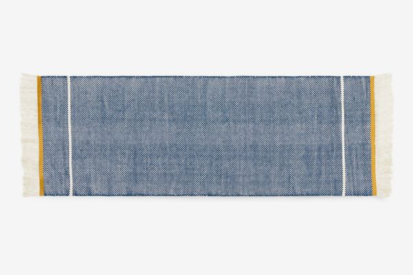 Made.com Elke Wool Flat Woven Runner 66 x 200 cm., Midnight Blue