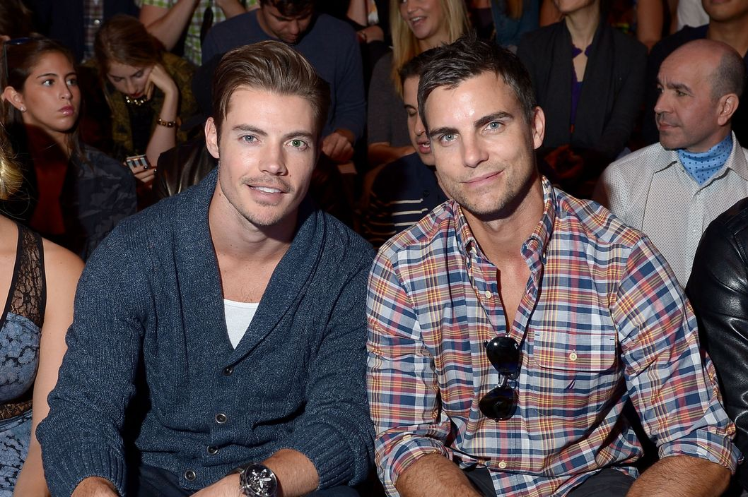Actors Josh Hendersen (L) and Colin Egglesfield attend the the Nautica Men's Spring 2014 fashion show during Mercedes-Benz Fashion Week at The Stage at Lincoln Center on September 6, 2013 in New York City.