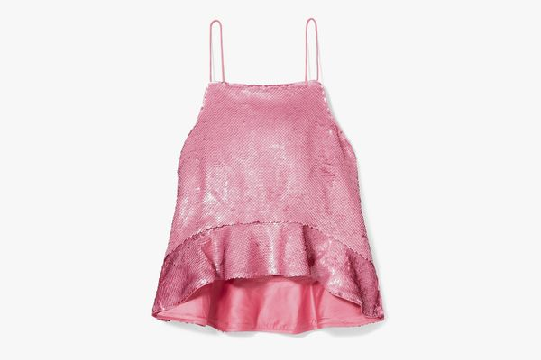 Ganni Sonora Ruffled Sequined Satin Camisole