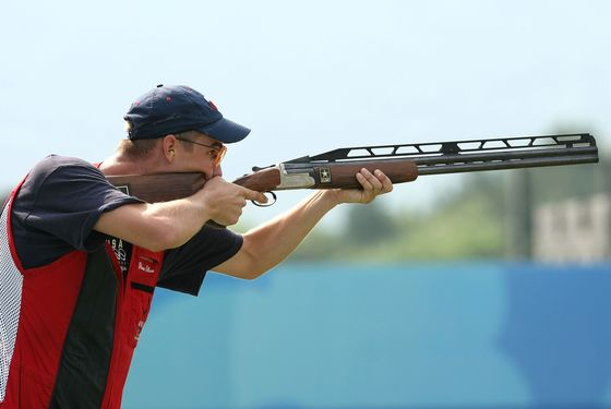 BEIJING - AUGUST 12:  Walton Glenn Eller of the United States competes in the men's double trap held at the Beijing Shooting Range Hall during Day 4 of the Beijing 2008 Olympic Games on August 12, 2008 in Beijing, China.  (Photo by Nick Laham/Getty Images)