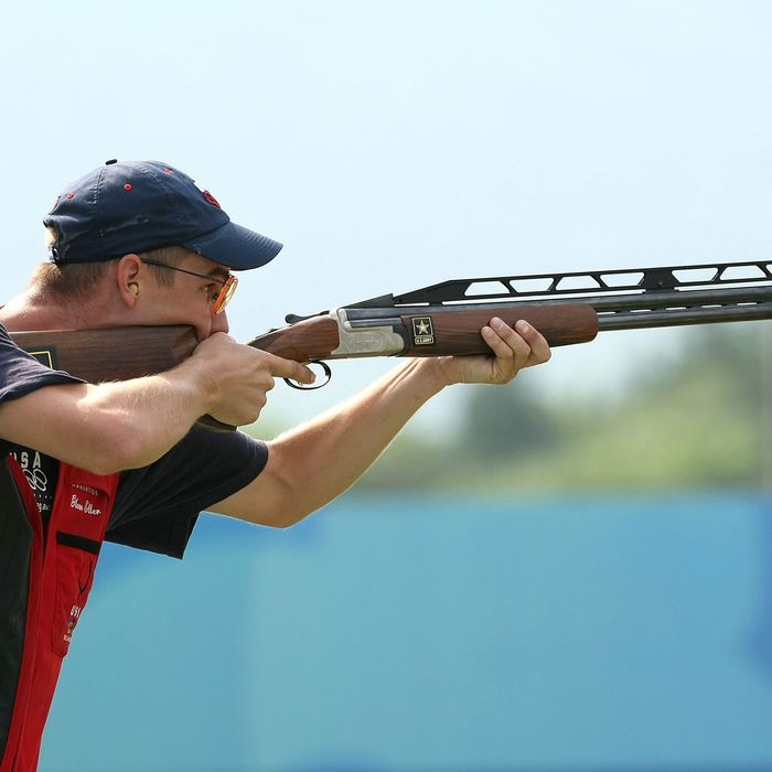 Walton Glenn Eller of the United States competes in the men's double trap held at the Beijing Shooting Range Hall during Day 4 of the Beijing 2008 Olympic Games on August 12, 2008 in Beijing, China.