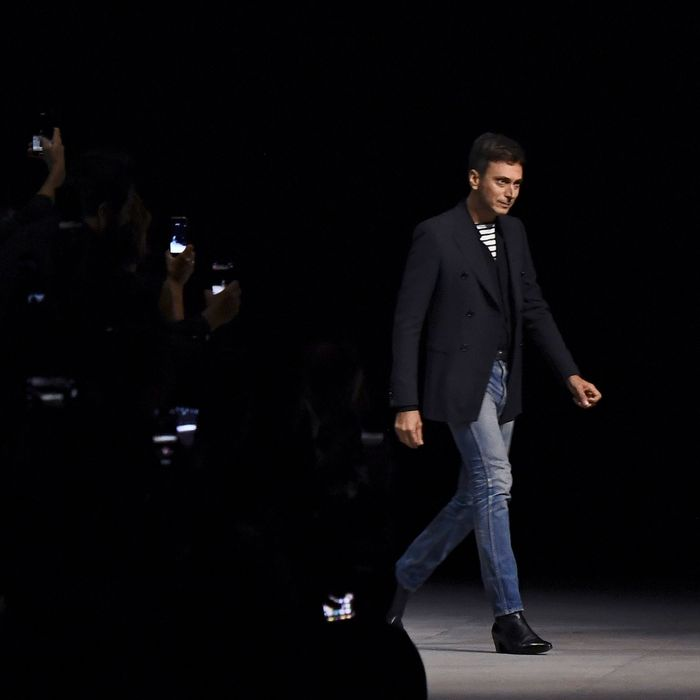 eca3cf37c2b01 Hedi Slimane takes a bow after his spring 2019 Celine debut. Photo: ANNE- CHRISTINE POUJOULAT/AFP/Getty Images
