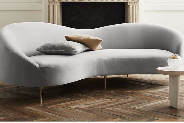 CB2 Curvo Light Grey Velvet Sofa