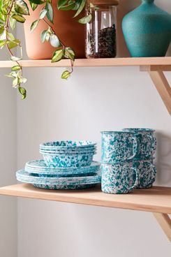 Urban Outfitters 16-Piece Turquoise Speckled Edged Enamelware Starter Kit