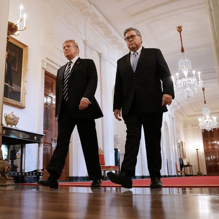 Attorney General William Barr and President Donald Trump.