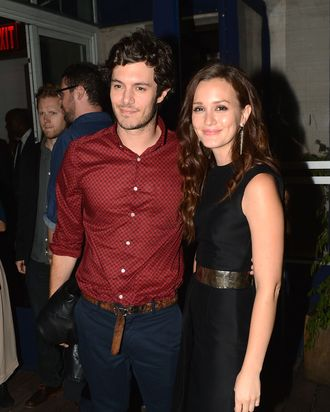 Adam Brody and Leighton Meester attend The Cinema Society with The Hollywood Reporter & Samsung Galaxy S III host a screening of
