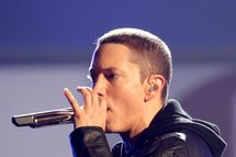 LOS ANGELES, CA - JUNE 27:  Rapper Eminem performs onstage during the 2010 BET Awards held at the Shrine Auditorium on June 27, 2010 in Los Angeles, California.  (Photo by Frederick M. Brown/Getty Images) *** Local Caption *** Eminem