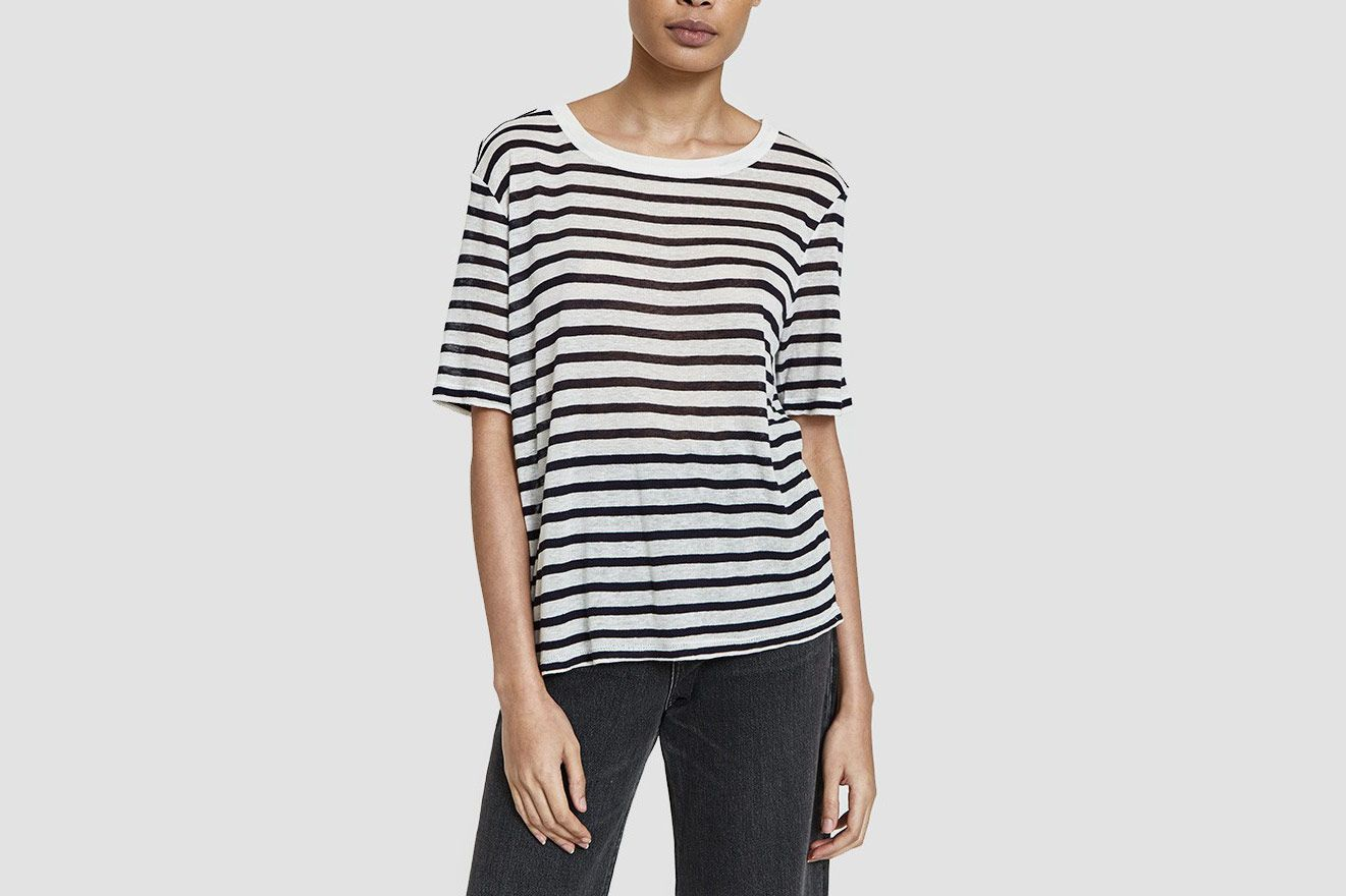 T by Alexander Wang Striped Slub Jersey Cropped Tee