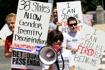 WASHINGTON - MAY 20: Members of GetEQUAL, a lesbian, gay, bisexual and transgender organization, stage a protest on Capitol Hill May 20, 2010 in Washington, DC. Activists call on Democratic congressional leaders to keep their promise to schedule a vote for the Employment Non-Discrimination Act (ENDA) this legislative year.  (Photo by Alex Wong/Getty Images)