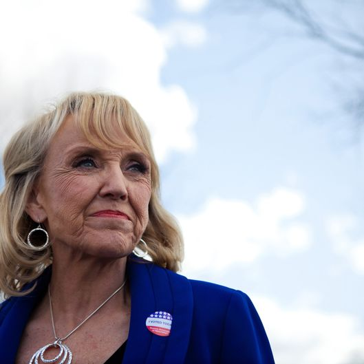 GLENDALE, AZ - FEBRUARY 28:  Arizona Gov. Jan Brewer talks to the news media after voting in the Republican presidential primary February 28, 2012 in Glendale, Arizona. Arizona is a winner take all state, with all the delegates from the state going to the winner of the primary. Early voting began in the state February 2, with over 300, 000 votes already cast as of February 27.  (Photo by Jonathan Gibby/Getty Images)