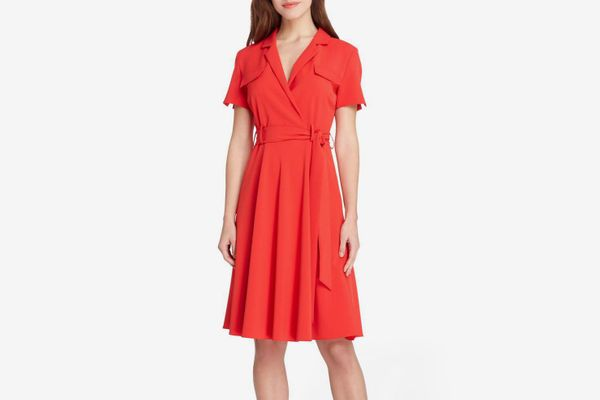 TAHARI Tie Waist Shirtdress