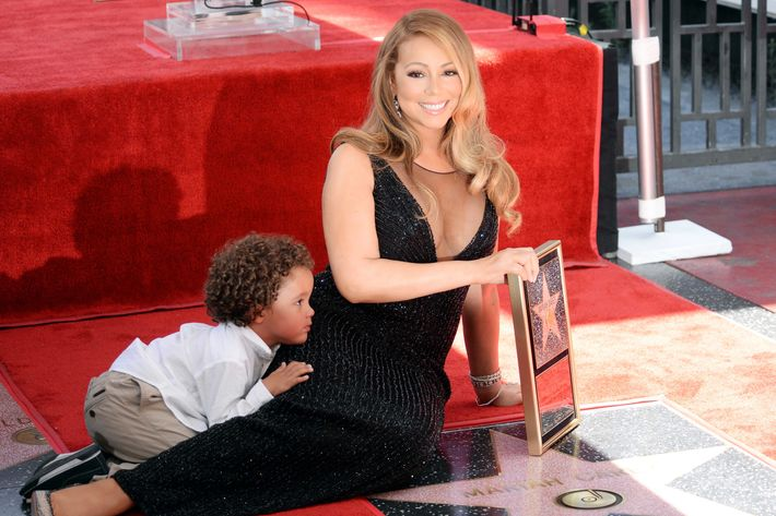 Mariah Carey and her son, Moroccan.