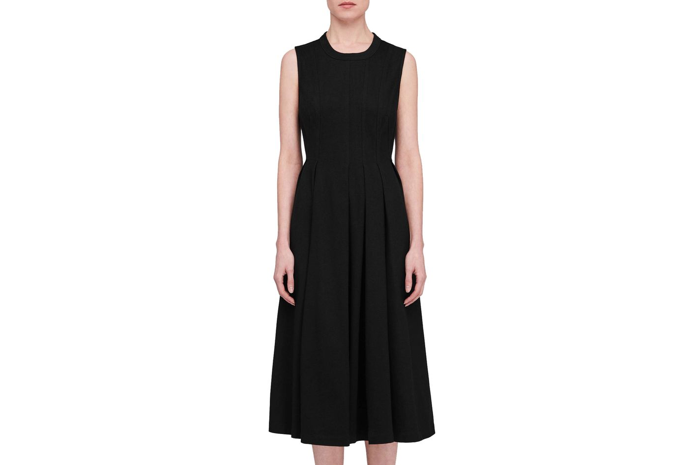 T by Alexander Wang Stiff Cotton Jersey Sleeveless Seamed Peplum Dress