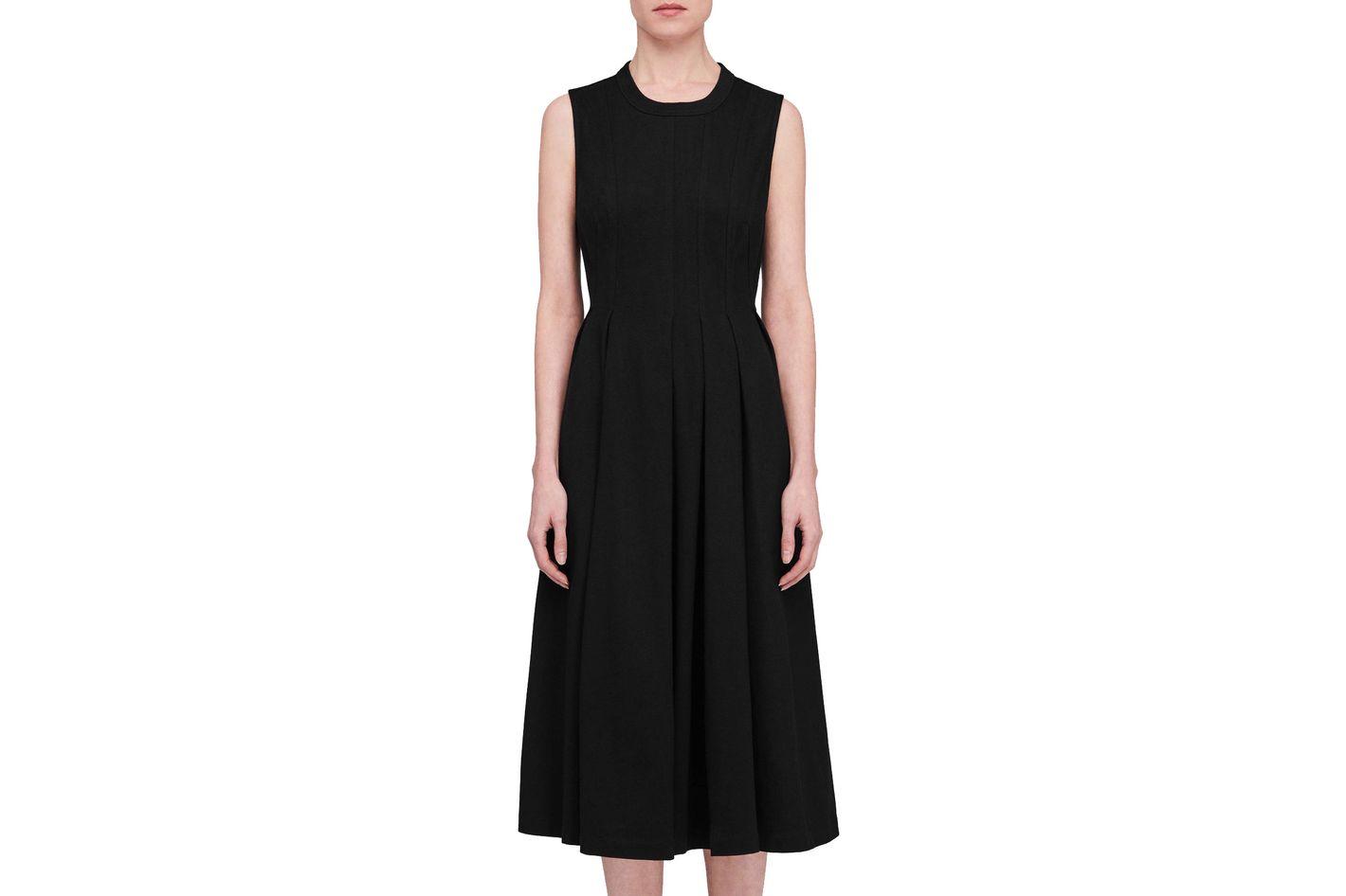 T by Alexander Wang Stiff Cotton Jersey Sleeveless Seamed Peplum Dress