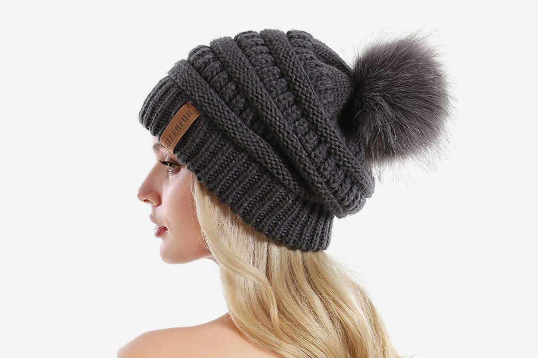 ANGELA /& WILLIAM Winter Cute Double Pom Pom Ears Soft Warm Thick Chunky Knit Beanie Hat