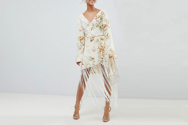 Floral Wrap Fringe Dress