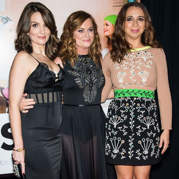 Tina Fey, Amy Poehler, and Maya Rudolph at the <i>Sisters</i> premiere.
