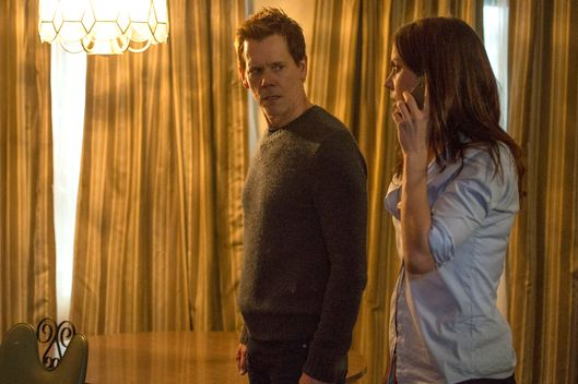 "THE FOLLOWING: In an attempt to find out more information, Ryan (Kevin Bacon, L) and Max (Jessica Stroup, R)  capture a suspect in the ""Reflection"" episode of THE FOLLOWING airing Monday, Feb. 17 (9:00-10:00 PM ET/PT) on FOX. ©2014 Fox Broadcasting Co. CR: David Giesbrecht/FOX"