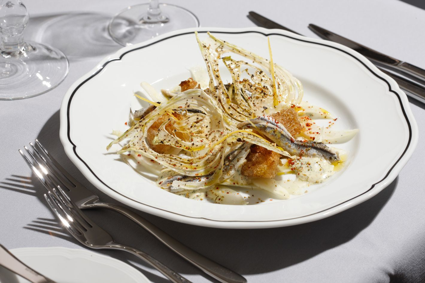 House-marinated fresh anchovies with fennel three ways.