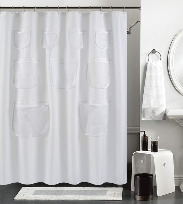 Mrs Awesome Water-Repellent Fabric Shower Curtain or Liner with 9 Handy Mesh Pockets 70 x 72 inches, White