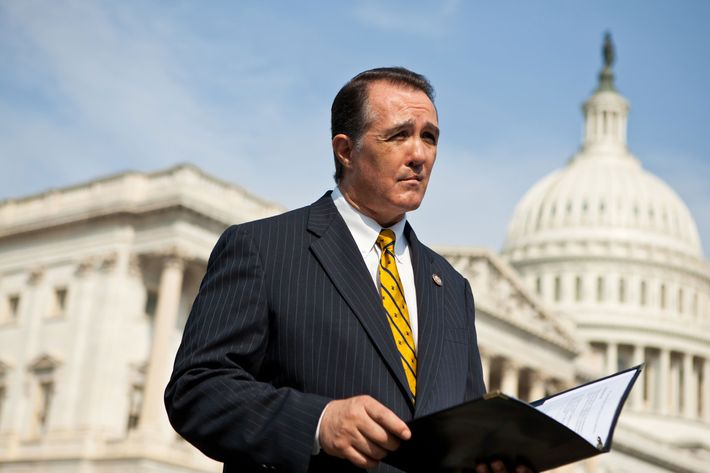 Rep. Trent Franks (R-AZ) listens during a news conference for the launch of the Congressional HIV/AIDS Caucus on Capitol Hill on September 15, 2011 in Washington, DC. Franks is a co-chair of the caucus, along with Rep. Jim McDermott (D-WA) and Rep. Barbara Lee (D-CA). The bi-partisan caucus has attracted approximately 50 members.