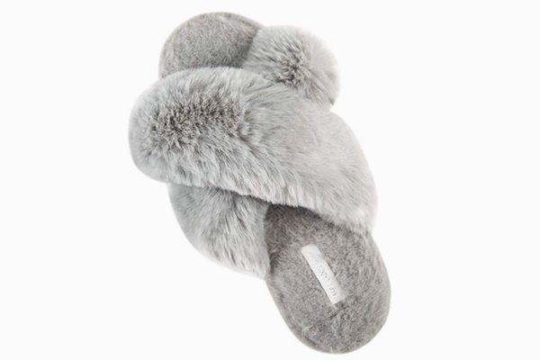 HALLUCI Cross Band Soft Plush Fleece House/Outdoor Slippers