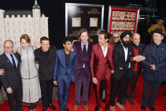 "NEW YORK, NY - FEBRUARY 26:  (L-R) Actors/castmembers Bob Balaban, Saoirse Ronan, Willem Dafoe, Tony Revolori, filmmaker Wes Anderson, and actors/castmembers Harvey Keitel, Adrien Brody, Waris Ahluwalia, F. Murray Abraham and attend the ""The Grand Budapest Hotel"" New York Premiere at Alice Tully Hall on February 26, 2014 in New York City.  (Photo by Michael Loccisano/WireImage)"