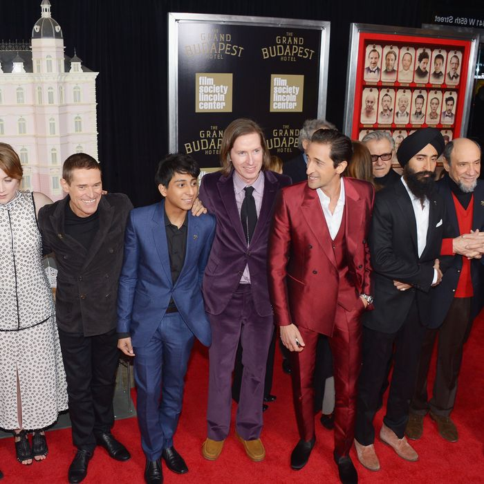 NEW YORK, NY - FEBRUARY 26: (L-R) Actors/castmembers Bob Balaban, Saoirse Ronan, Willem Dafoe, Tony Revolori, filmmaker Wes Anderson, and actors/castmembers Harvey Keitel, Adrien Brody, Waris Ahluwalia, F. Murray Abraham and attend the