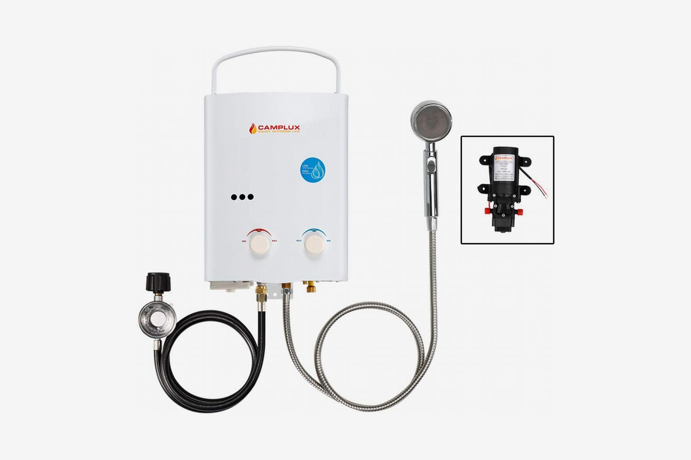 Camplux Outdoor Portable Propane Gas Tankless Water Heater With Water Pump