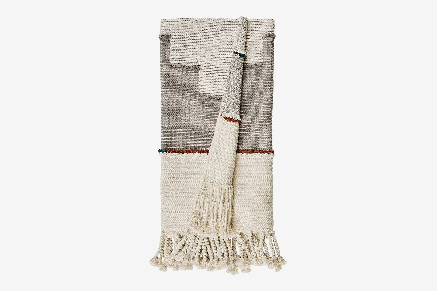 Rivet Modern Global-Inspired Textured Tassel Throw Blanket