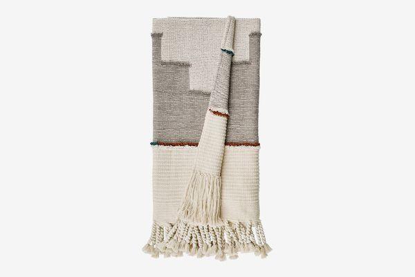 Rivet Modern Global-Inspired Textured Tassel Throw Blanket