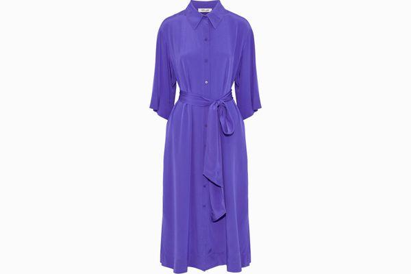 DIANE VON FURSTENBERG Belted silk-satin midi shirt dress