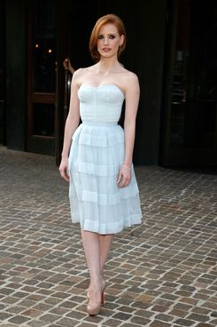 """Jessica Chastain attends """"The Debt"""" screening at the Tribeca Grand Hotel - Screening Room on August 22, 2011 in New York City.  (Photo by Andy Kropa/Getty Images)"""
