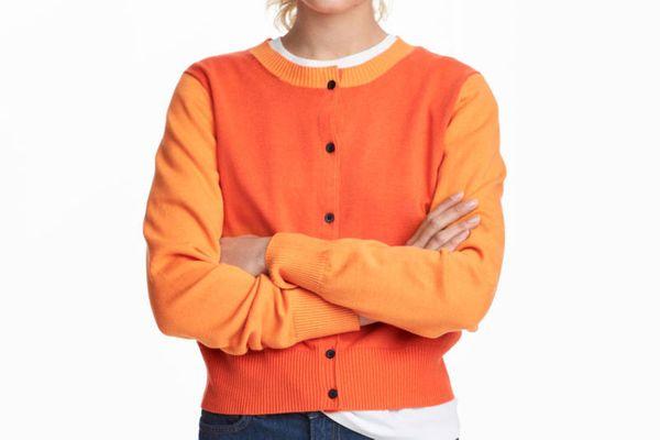 Color Blocked Cotton Cardigan