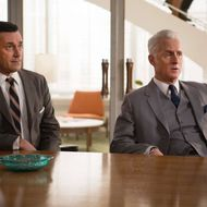 Jon Hamm as Don Draper and John Slattery as Roger Sterling - Mad Men _ Season 7, Episode 6- Photo Credit: Justina Mintz/AMC