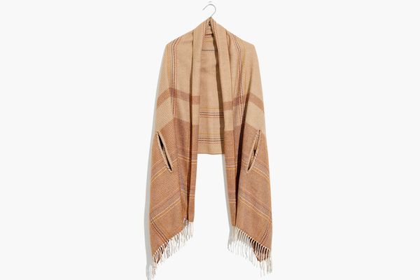 Madewell Placed Rainbow Plaid Cape Scarf