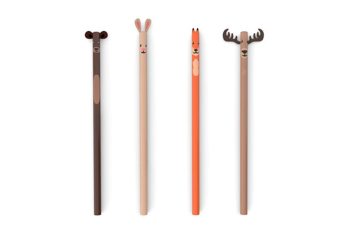 Kikkerland Woodland Pencils, Set of 4