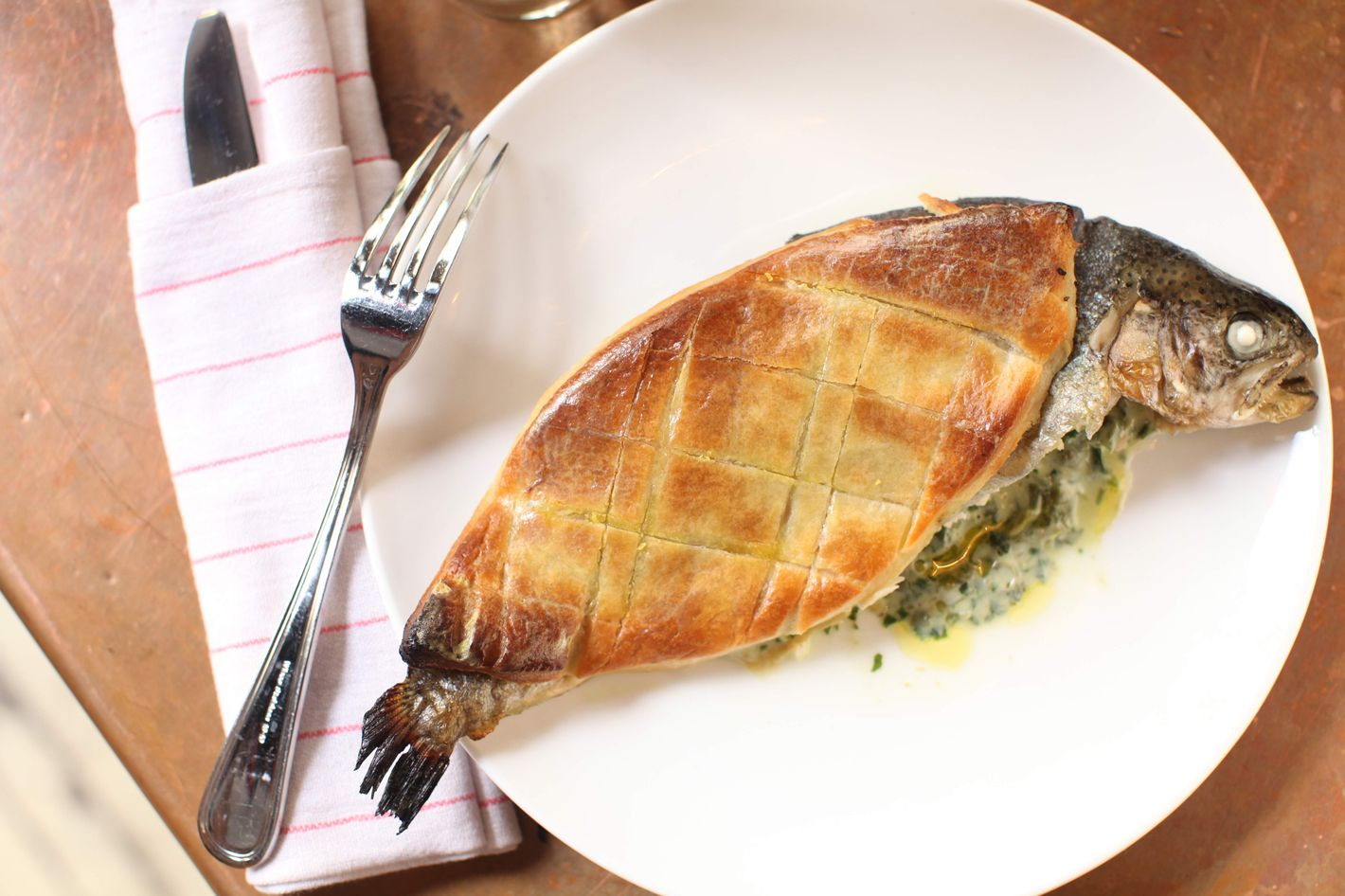 Navy's whole trout en croute feeds two.
