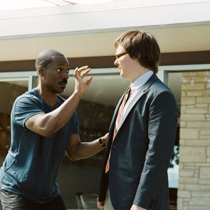 Left to right: Eddie Murphy plays Jack McCall and Clark Duke plays Aaron Wiseberger in A THOUSAND WORDS, from DreamWorks Pictures.