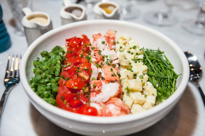 The lobster salad with string beans, potatoes, tomatos, chives.