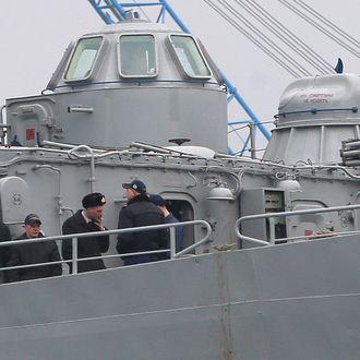 03 Mar 2014, Sevastopol, Ukraine --- ITAR-TASS: SEVASTOPOL, CRIMEA, UKRAINE. MARCH 2, 2014. Command ship Slavutich of the Ukrainian Navy in the port of Sevastopol. (Photo ITAR-TASS/ Stanislav Krasilnikov) --- Image by ? Krasilnikov Stanislav/ITAR-TASS Photo/Corbis