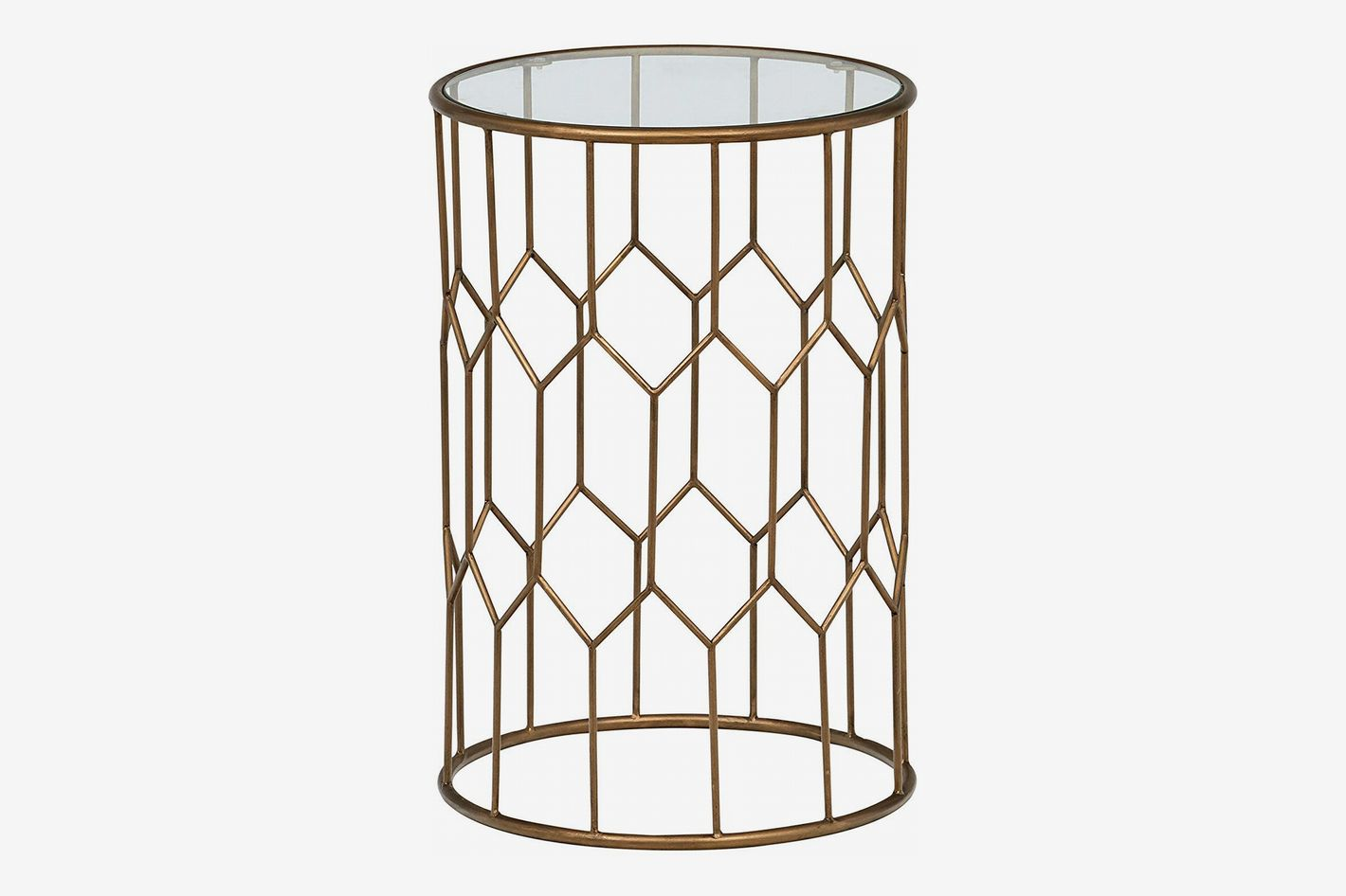 Rivet Geometric Modern Glass and Metal End Table