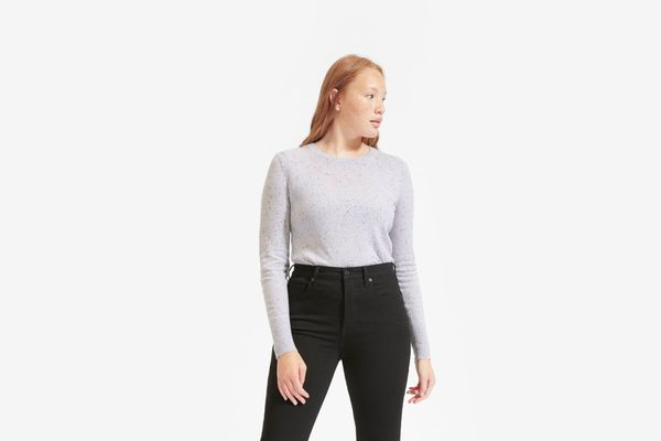 Everlane Cashmere Crew, Pale Lavender Donegal