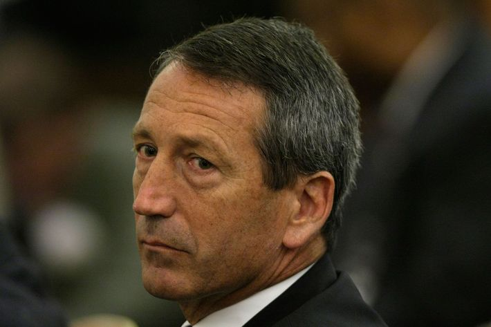 South Carolina Gov. Mark Sanford pauses during a hearing before the House Ways and Means Committee on Capitol Hill October 29, 2008 in Washington, DC. The hearing was focused on economic recovery and job creation through investment.