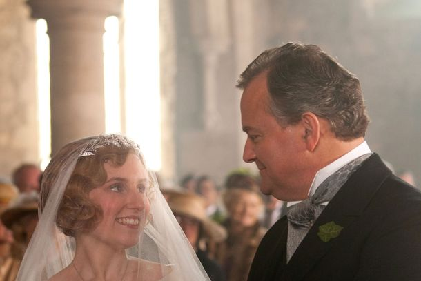 Downton Abbey Season 3Sundays, January 6 - February 17, 2013 on MASTERPIECE on PBS  Shown from left to right: Laura Carmichael as Lady Edith, Hugh Bonneville as Earl of Grantham, Robert© Carnival Film & Television Limited 2012 for MASTERPIECEThis image may be used only in the direct promotion of MASTERPIECE CLASSIC. No other rights are granted. All rights are reserved. Editorial use only. USE ON THIRD PARTY SITES SUCH AS FACEBOOK AND TWITTER IS NOT ALLOWED.