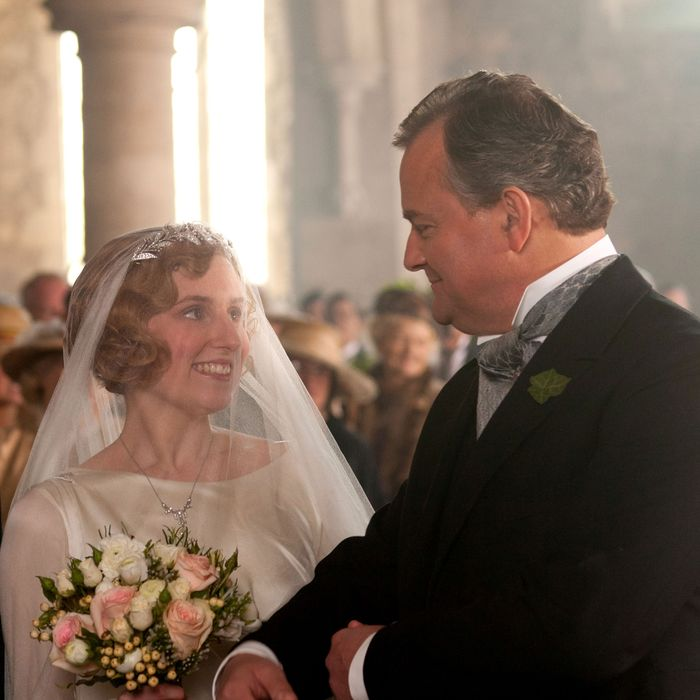 Downton Abbey Season 3Sundays, January 6 - February 17, 2013 on MASTERPIECE on PBS Shown from left to right: Laura Carmichael as Lady Edith, Hugh Bonneville as Earl of Grantham, Robert? Carnival Film & Television Limited 2012 for MASTERPIECEThis image may be used only in the direct promotion of MASTERPIECE CLASSIC. No other rights are granted. All rights are reserved. Editorial use only. USE ON THIRD PARTY SITES SUCH AS FACEBOOK AND TWITTER IS NOT ALLOWED.