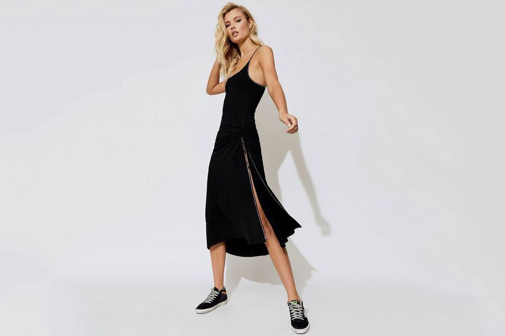 Adam Selman Sport Built In Bra Slit Dress