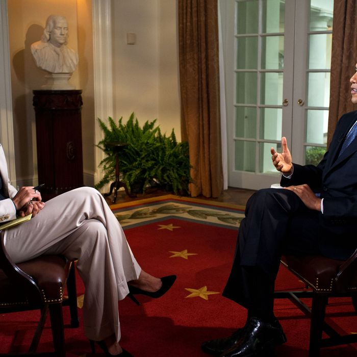 U.S. President Barack Obama participates in an interview with Robin Roberts of ABC's Good Morning America