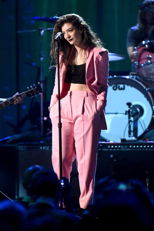 Musician Lorde performs onstage with Inductees Nirvana at the 29th Annual Rock And Roll Hall Of Fame Induction Ceremony at Barclays Center of Brooklyn on April 10, 2014 in New York City.