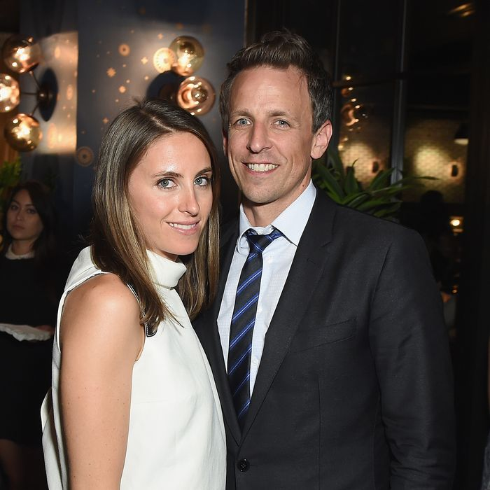 Seth Meyers and Alexi Ashe. Photo: Dimitrios Kambouris/Getty Images